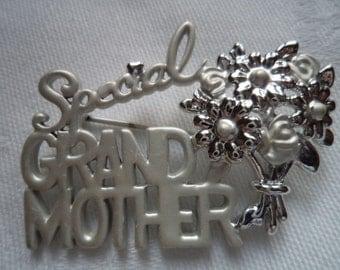 Vintage Signed Danecraft Silvertone/Matt Special Grand Mother  Brooch