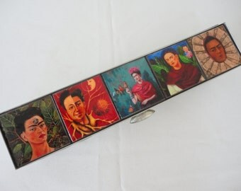 Frida Kahlo Jewelry Case - Large / Keepsake Box / Frida Kahlo Self-Portraits / Mexican Folk Art