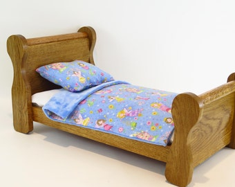 """American Girl Doll Furniture / Doll Bed for American Girl / Sleigh Bed / 18"""" Doll Furniture (Oak)"""