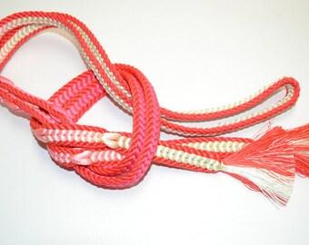 Vintage Silk Kimono Obijime Ribbon - Lovely 2 Tone Salmon Pink / Ivory K68