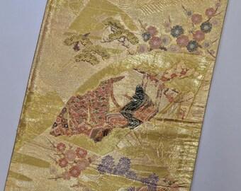 Vintage Fukuro Kimono Obi Belt - Ancient Royal Princess Folding Fan - F49m