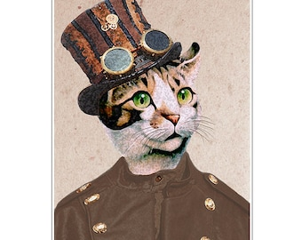 Steampunk Cat - Animal painting portrait painting  Giclee Print Acrylic Painting Illustration Print wall art wall decor Wall Hanging Coco de