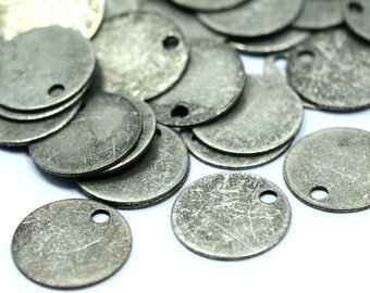 150 Pieces Antique Silver 10 mm Round Stamping Drop Findings