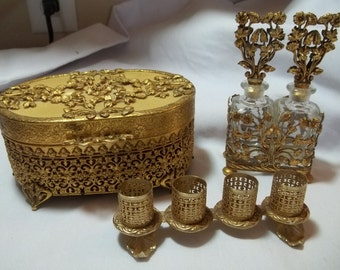 Gold filigree mid-century dresser set