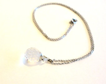 Sterling Necklace Egg Shaped Faceted Crystal 18 Inch