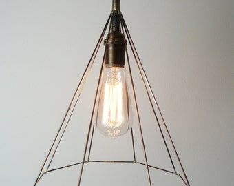 Geometric lighting, minimal lighting, octagon lighting, copper lighting, industrial lighting, swag light, modern pendant light,