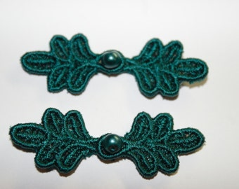 "1 3/4"" Small Frog Closures, pkg of 2. TEAL GREEN #R09. Machine Embroidered."