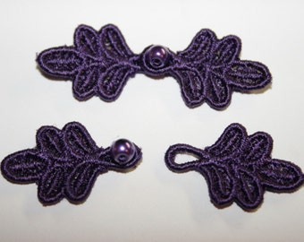 """1 3/4"""" Small Frog Closures, pkg of 2. DEEP PURPLE #R35. Machine Embroidered."""