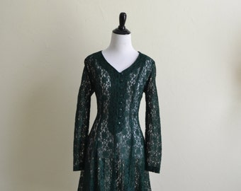 1990's Dark Green lace Dress