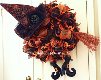 Halloween Witch Legs Wreath - Deco Mesh Wreath - Witch Wreath - Witch Legs - Witch Hat - Halloween Wreath