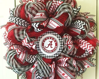 Alabama Football Deco Mesh Wreath - Bama Wreath - Crimson Tide Wreath - Football Wreath