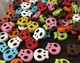 10 - Kawaii Acrylic Skull Beads 15x13mm