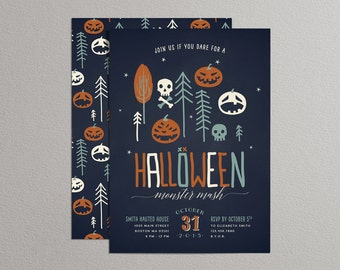 Printable Halloween Invitation - Halloween Monster Mash (Blue)
