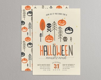 Printable Halloween Invitation - Halloween Monster Mash (Cream)