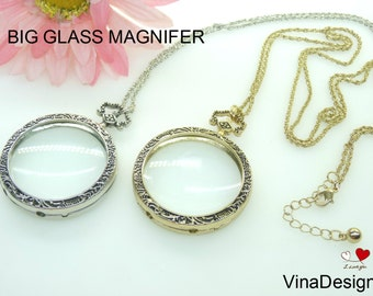 Big Magnifying Necklace Glass Magnifier Glass Pendant Magnifying Necklace Metal Magnifier Necklace Silver Magnifying Pendant Christmas Gift