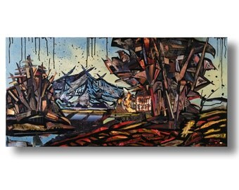 """Mixed media painting  on canvas """"Landscape IRA40"""" 48"""" x 24"""" by K Davies - Ready for framing"""