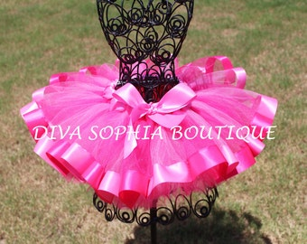 Hot Pink Ribbon Tutu - Newborn Baby Infant Tutu - Toddler Tutu