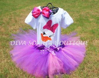 Daisy Duck Tutu Set - Newborn - Baby Infant Toddler up to size 4T -  Birthday Set