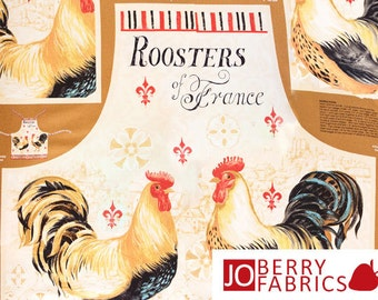 Roosters Apron Panel, Bohemian Roosters by Daphne B for Wilmington Prints, Apron Panel