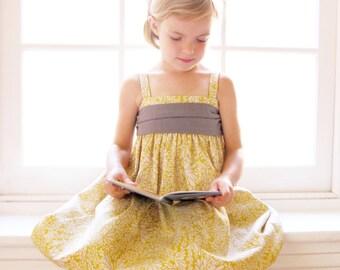 Yellow Girls Linen Dress - Mustard Yellow Toddler Dress - Grey and Yellow Girls Dress - Linen & Chambray - Linen Flower Girl Dress
