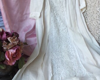 Antique Baby Christening Gown, Ecru Heirloom Quality Long Christening Gown, Cotton Lace Christening Gown