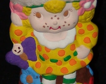 Vintage Lemon Meringue Painted Ceramic Figurine! Strawberry Shortcakes Friend!  1980's!