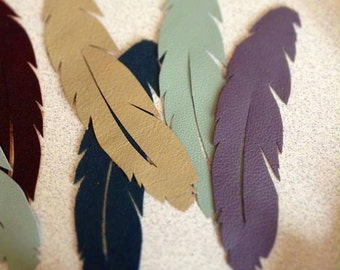 Leather feather bookmark