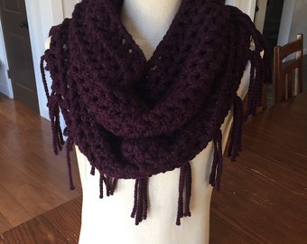 "The ""Carlita"" fringe infinity scarf in plum"