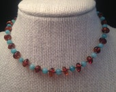 Dark Cognac Baltic Amber and Amazonite Teething Necklace