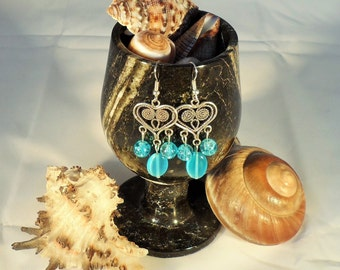 Blue Heart Chandelier Earrings (CE 0001)