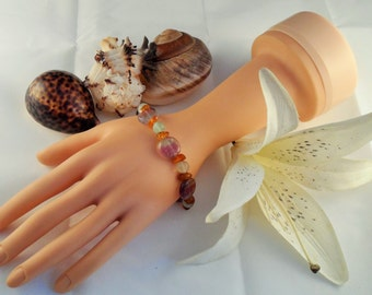 Purple and Green Flourite and Amber Bracelet