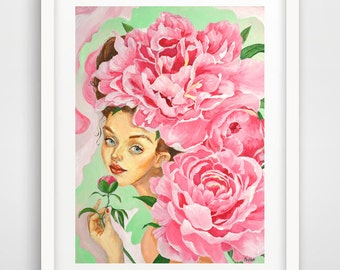 Peonies Girl ORIGINAL acrylic painting artist Maria Payes 12x16 gift for her mini fine art