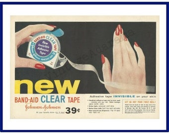 "JOHNSON & JOHNSON Band-Aid Clear Tape Original 1958 Vintage Color Print Ad - ""Adhesive Tape Invisible On Your Skin"""