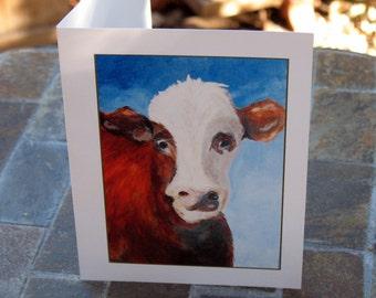 Cow Artwork Printed on Folded Notecard