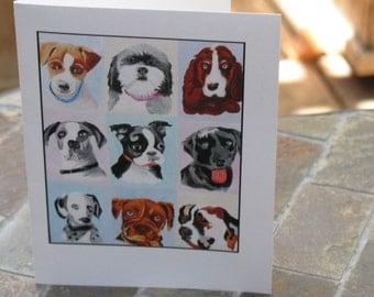 Nine-Dog Artwork Printed on Folded Note