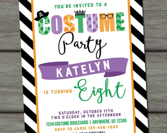 Costume Birthday Invitation, Halloween Costume Party Invitation, Halloween Invitation, Halloween Party, Costume Party, Costumes, Dress Up