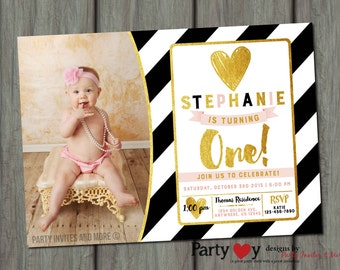 Black and Gold Birthday Invitation, Blush Pink Invitation, Pink and Gold Birthday Invitation, Birthday Invitation, Blush and Gold Birthday