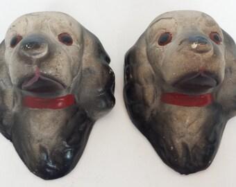 Vintage Chalkware  Dogs