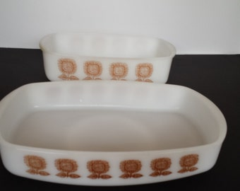 Pair of Sunflower Federal Casseroles