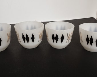 Federal Glass Black Diamond Atomic Custard Cups - Set of 4