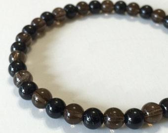 Black Tourmaline and Smoky Quartz Bracelet (GESTR-0016)
