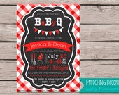 5x7 Baby Q BBQ Barbecue Shower Invitation, Gender Reveal, Couples, Boy or Girl, Party, Plaid, picnic, cookout, diaper shower, Chalkboard
