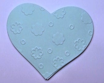 25 handmade die cuts - EMBOSSED HEARTS - choose the color you like!