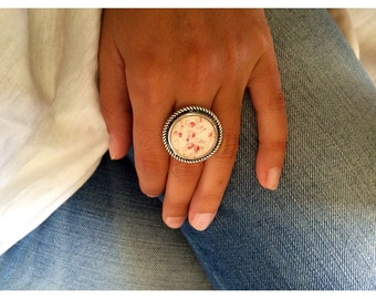 FREE SHIPPING Little Pink Flowers Ring Silver Very Light Colors Handmade Jewelry Photo Ring
