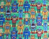 Robots! Michael Miller novelty print cotton fabric remnant