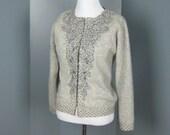 Vintage 1960s beaded cutwork sweater gray angora blend size M