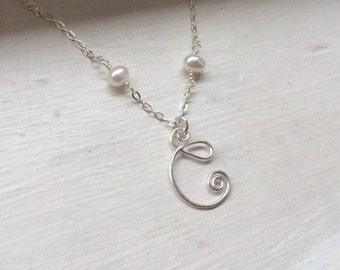 Initial necklace with freshwater pearls, wire jewelry, personalized, bridesmaid gift