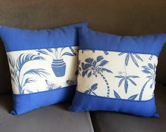 Set of 2 42cmx42cm Decorative Cushion Covers Blue Tropics