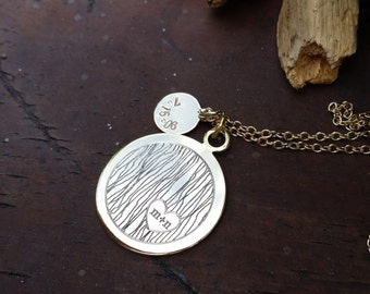 Carved Initials Engraved Necklace - personalized jewelry, wedding gift, mother's day gift, anniversary present
