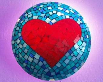 Heart mosaic lamp, wall lamp, stained glass lighting